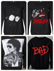 sweater,michael jackson,bad,thriller,billie jean,black,mj