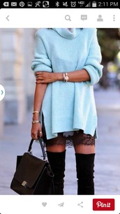 sweater,sweater dress,lace,dress,see through dress,black dress,shirt,long sweater,baby blue,classy,drreamtaker,classy outfit,shoes,bag,oversized sweater,wool sweater,blue dress,pastel sweater,turtleneck sweater,pastel blue,oversized turtleneck sweater,t-shirt,blue,fashion,blue sweater,winter outfits,knitted sweater,knee length,suede,black,suede boots,over knees suede boots