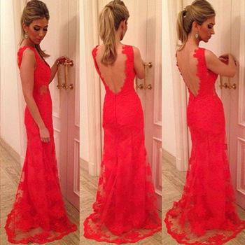 e0d4a2753 2015 recién llegado Sexy mujeres del v cuello de encaje vestido largo del  verano Backless vestido ajustado elegante damas partido rojo ...
