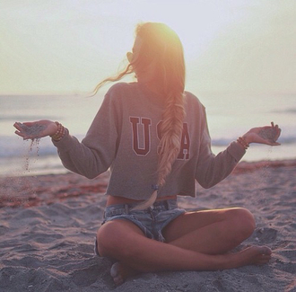 top crop tops cropped sweater usa shirt t-shirt swimwear sweater sweatshirt sweater/sweatshirt grey sweater gray hoodie