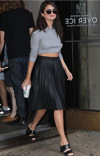 skirt midi skirt crop tops mules selena gomez summer outfits shoes