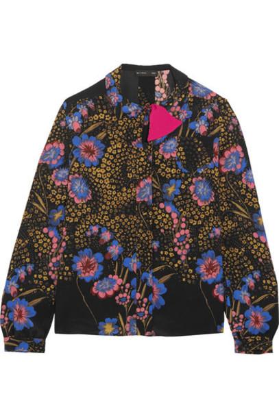 ETRO blouse floral print black silk top