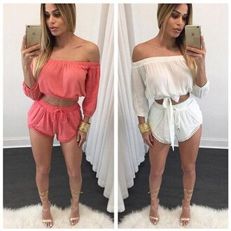 romper two-piece shorts off the shoulder white coral crop tops beach summer long sleeves trendy ogvibes