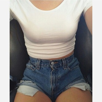 blouse high waisted shorts white crop tops white crop tops tube top