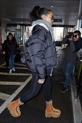 rihanna winter boots boots jacket shoes coat celebrity