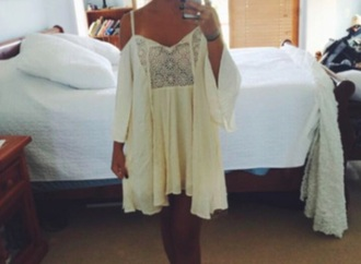 dress boho dress cream dress crochet dress baggy dress