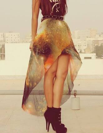 skirt outfit galaxy print galaxy skirt
