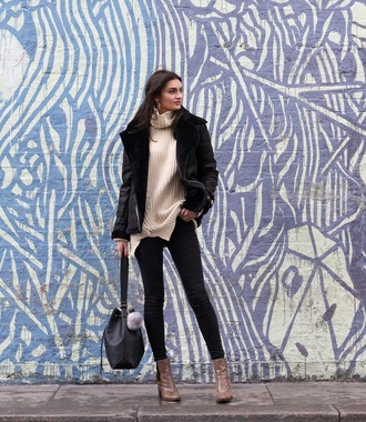 jeans peexo shoes blogger bag jacket black shearling jacket