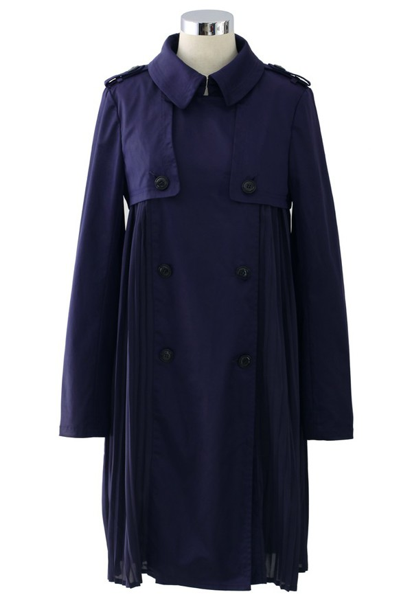 chicwish chic pleated double breasted coat navy