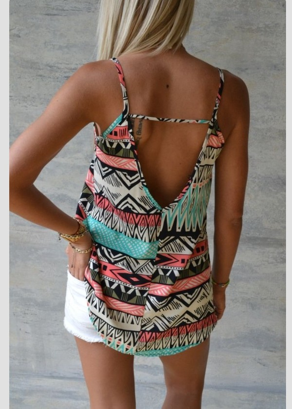 blouse backless backless tank top tribal pattern