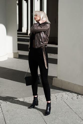 blogger jacket pants shoes bag