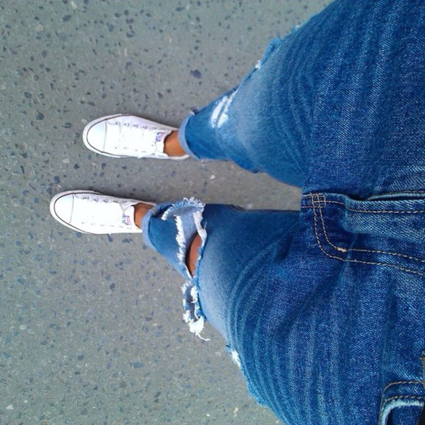 jeans colorful material converse
