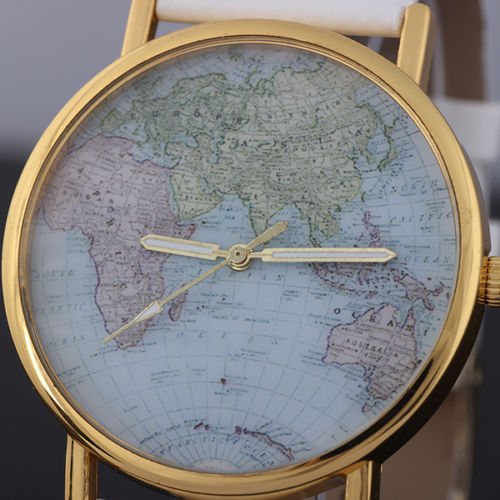 Fashion Unisex World Map Style Round Quartz Movement Wrist Watch Alloy New Gift | eBay