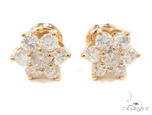 Yellow Gold Medium Flower Cluster Earrings 36003