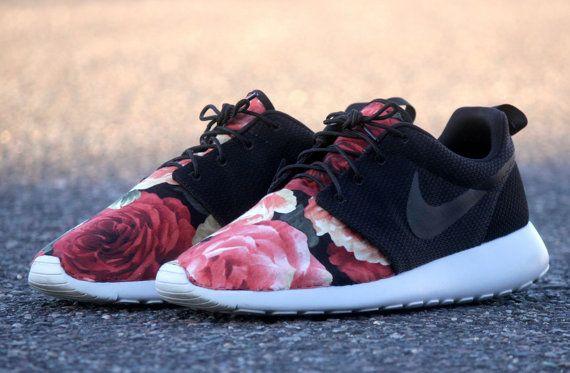 Very limited* nike roshe run red rose garden custom (supremo supreme …