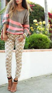 pants,printed pants,beige,style,hot,print,model