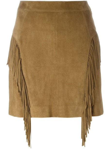 skirt women silk brown
