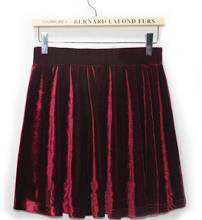 Pleated High Waist Pleuche Velvet Skirt one size in wine red
