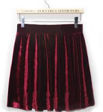 Pleated High Waist Pleuche Velvet Skirt one size in wine red