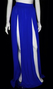 skirt,royal blue,maxi skirt,double slit skirt