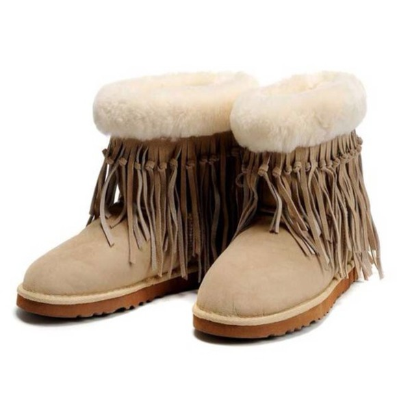fringe shoes boots tan ugg