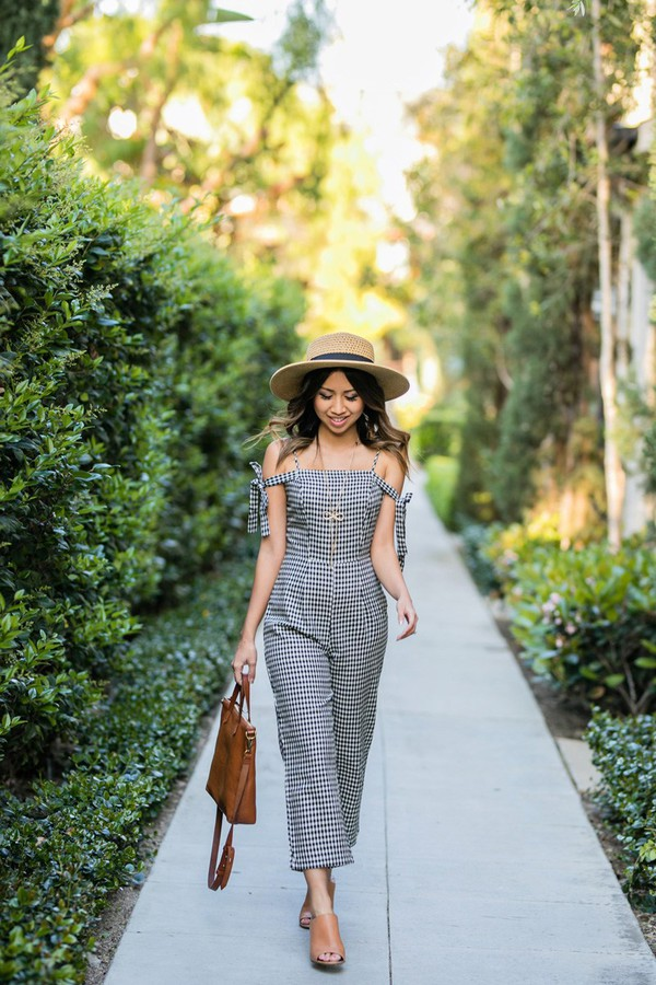 lace and locks blogger jumpsuit bag sunglasses jewels hat gingham handbag mules straw hat brown bag spring outfits