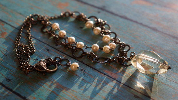 Antique Lace Vintage Bronze Pearl and Crystal Drop by fleurdesignz