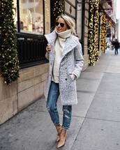 coat,grey coat,turtleneck sweater,high heel pumps,ripped jeans,sunglasses,winter sweater,winter coat,autumn/winter,outfit