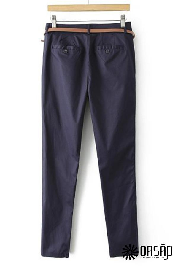 Neat Solid Color Pants - OASAP.com