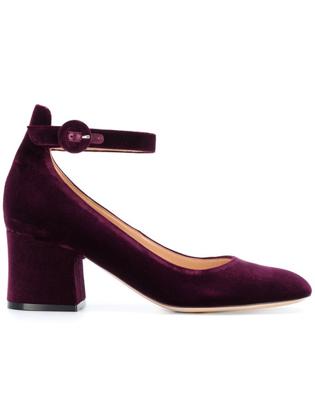 Gianvito Rossi heel women pumps leather velvet purple pink shoes