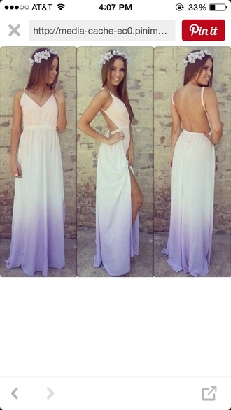 dress maxi dress ombré orange and purple