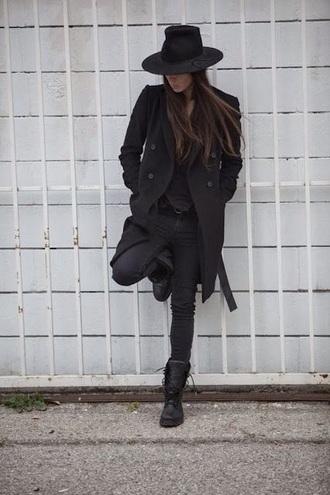 coat black brunette black jeans black pants black jacket little black boots outfit edgy cool fashion style black top boots black combat boots hat suave