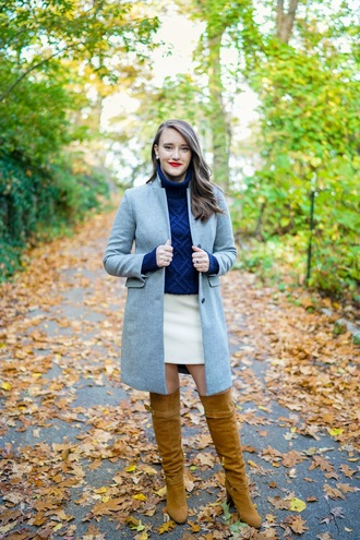 covering bases curvy blogger top coat skirt shoes make-up jewels sunglasses blue sweater mini skirt over the knee boots fall outfits