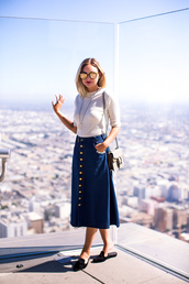late afternoon,blogger,shoes,jewels,sunglasses,bag,white top,long sleeves,denim skirt,maxi skirt,flats,statement necklace,gucci,shoulder bag,sweater,button up skirt,fall outfits,ribbed top,knitted top,dionysus,mirrored sunglasses,button up,button up denim skirt,midi skirt,buttoned skirt