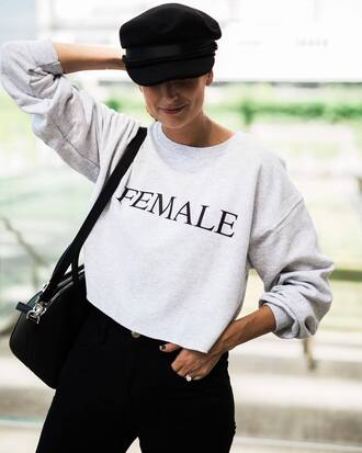 top grey top hat tumblr crop tops long sleeve crop top sweatshirt fisherman cap