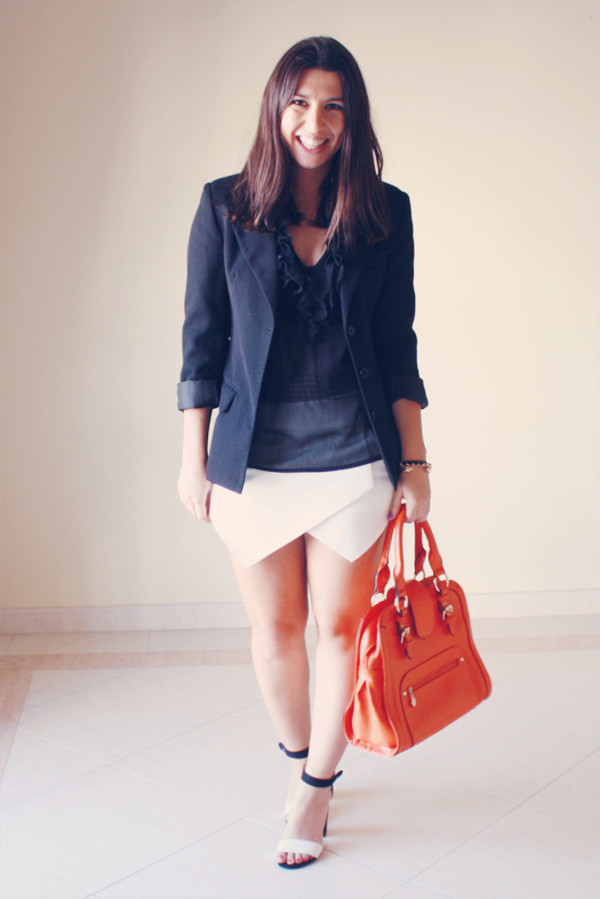 shorts skorts white black blogger bag orange heels clothes blazer shirt clubwear outfit night outfit zara Choies spartoo lefties black and white the fashion addicted h&m shoes