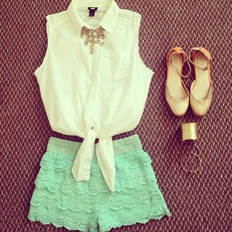 shorts white chiffon blouse sleveeless mint lace flats gold bracelet cuff bracelet spring outfits shoes shirt short sleeveless tank top