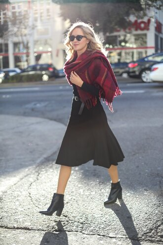shoes red checkered scarf black pleated skirt black ankle boots blogger sunglasses