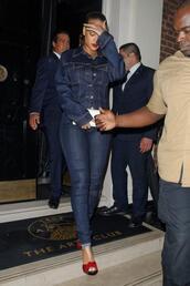 jacket,denim jacket,denim,sandals,sandal heels,rihanna,shoes