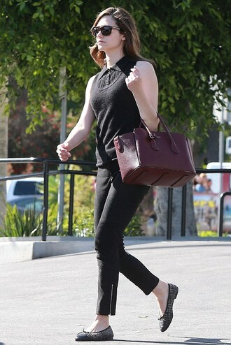 shoes top pants emmy rossum flats ballet flats printed ballerinas black pants cropped pants black top sleeveless sleeveless top bag handbag burgundy bag sunglasses black sunglasses