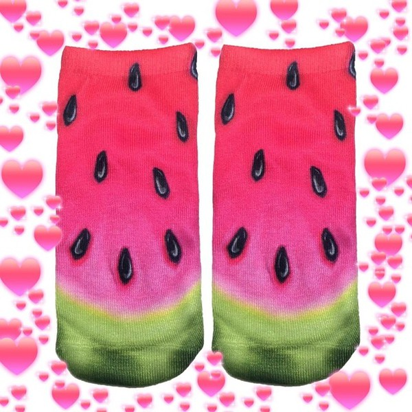 socks watermelon socks so cool green black on it watermelon print