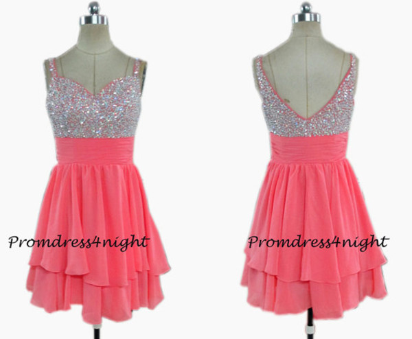 coral formal dress coral short dress watermelon prom dress short prom dress short formal dress sequin dress coral cocktail dress coral homecoming dress v back dress