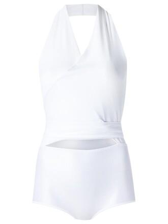 bodysuit women spandex v neck white underwear