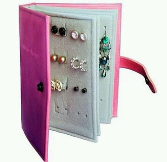 jewels earring book bag diar phone cover holder accessories pink book earrings diary