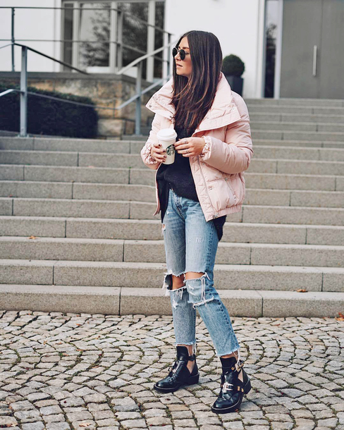 jacket tumblr pink jacker down jacket sweater black sweater sweater weather denim jeans blue jeans ripped jeans boots black boots sunglasses