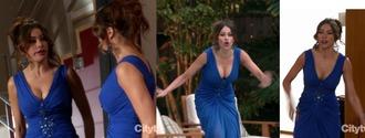 dress television show modern family sofia vergara blue dress long dress evening dress pool gloria pritchett v neck dress