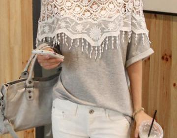 Sweet Lace Cutout Shirt Women Handm..