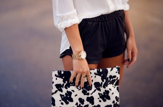 shorts bag wallet leather leather shorts faux leather chiffon chiffon blouse watch gold watch