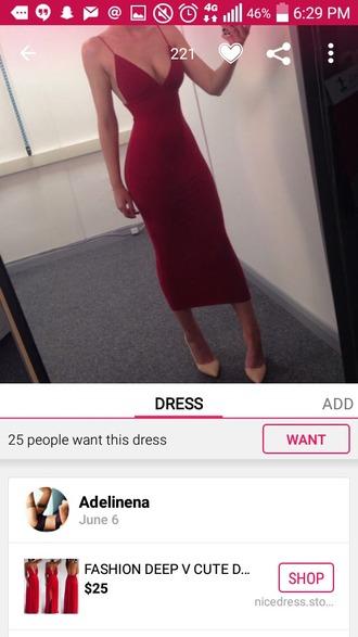 dress red dress bodycon dress long dress spaghetti strap ankle length