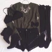 shorts,style,sweater,cardigan,army green sweater,knee high socks,boots,bra,bralette,bikini top,necklace,black shorts,sweatshirt,green sweater,outfit